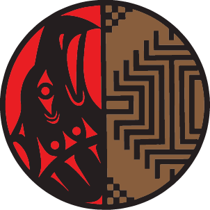 Split circle logo. Coast Salish eagle on the left, Plateau basket design on the right. Represents the Office of Native Education at OSPI.
