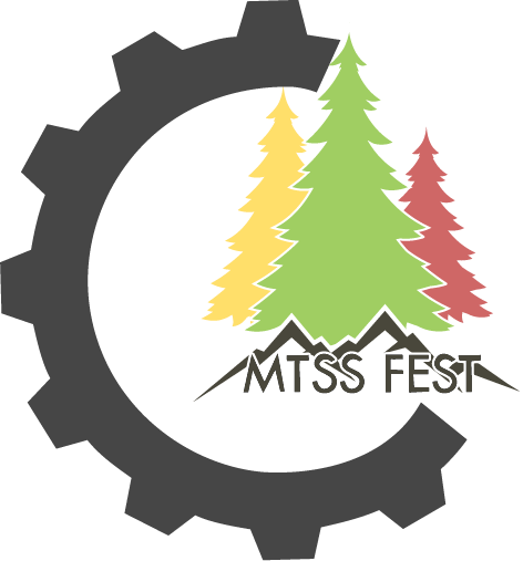 MTSS Fest 2019 Conference Flyer- Three trees that are red, yellow, and green with a black cog on the side