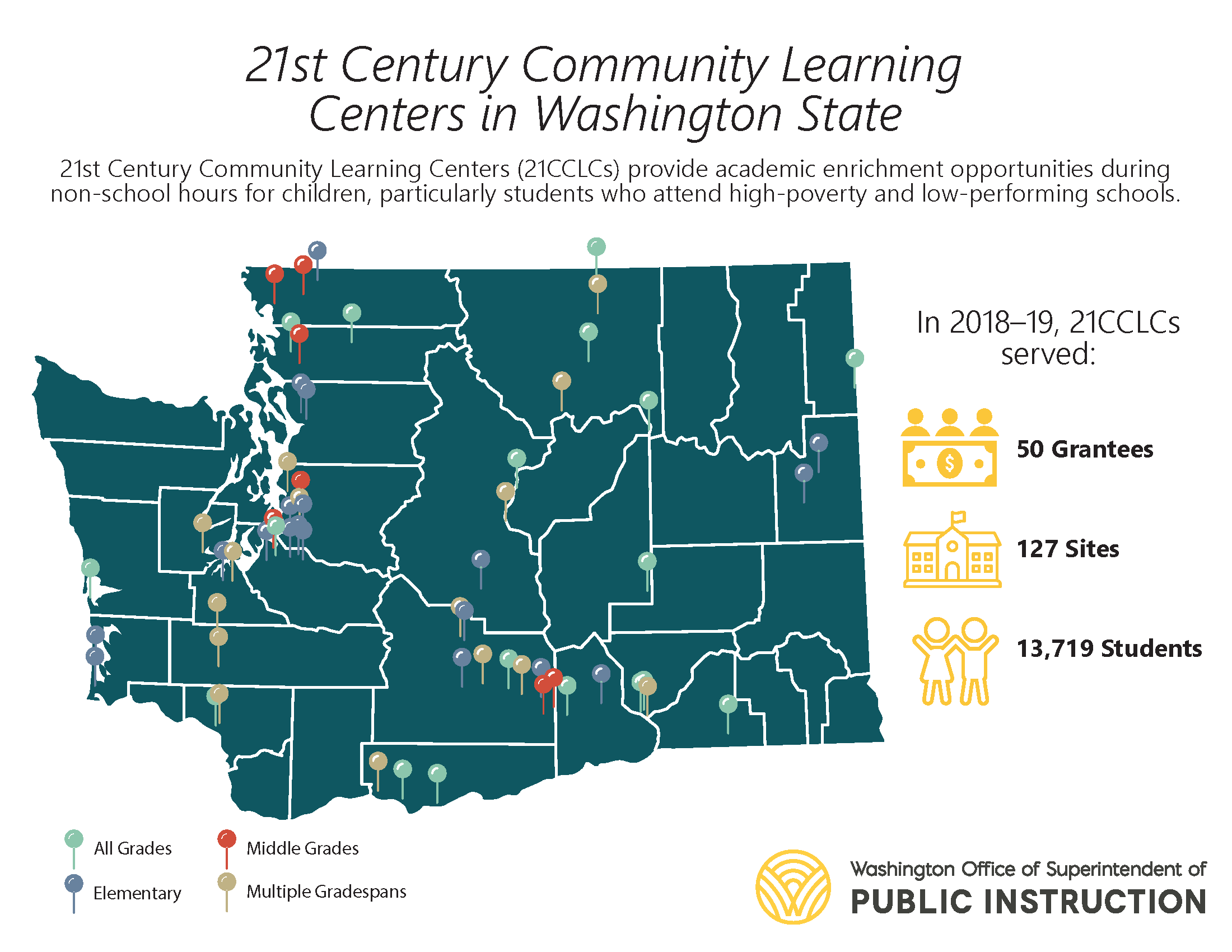 21st Century Community Learning Centers map in Washington State
