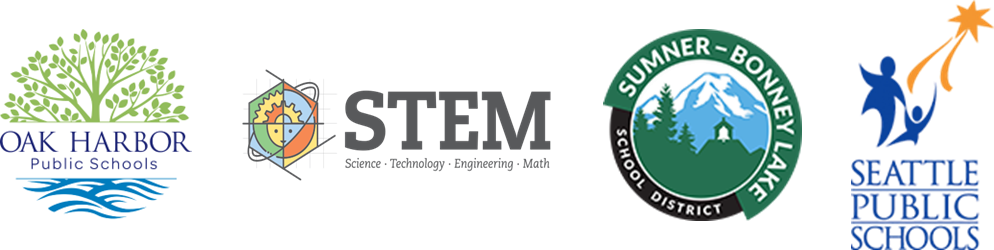 Oak Harbor, Sumner-Bonney Lake, Seattle Public Schools, and ESD 112 STEM logos