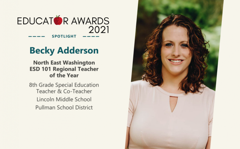 Educator Awards 2021, Becky Adderson Photo, NEWESD 101 Regional Teacher of the Year, 8th Grade Special Education Teacher & Co-Teacher, Lincoln Middle School, Pullman School District