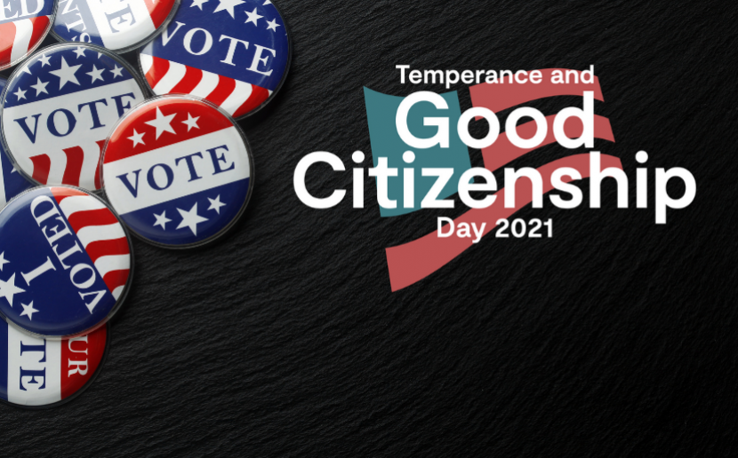 Temperance and Good Citizenship Day logo with 'Vote' Buttons
